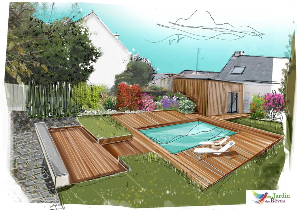 Plans 3d paysagiste pornic la plaine sur mer 44 m richeux for Terrasse 3d